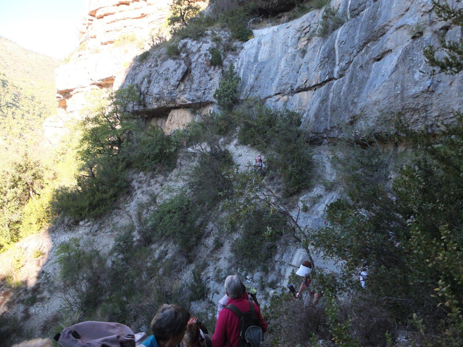 traversée vers l'abri sous roche